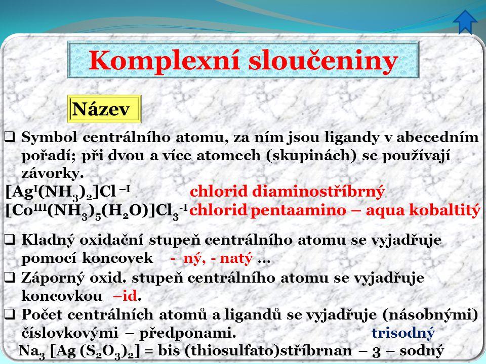 Komplexní sloučeniny Název [AgI(NH3)2]Cl –I chlorid diaminostříbrný